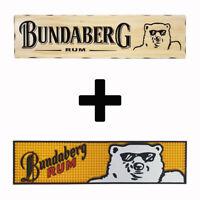 Bundaberg Bundy Rum Combo Pack - Timber Sign + Rubber Bar Mat Runner PVC Barmat