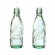 Amici Home Water Tap Recycled Glass Drinkware, Set of 2 Hermetic Bottles