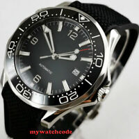 41mm sterile black dial ceramic bezel sapphire glass date automatic mens watch