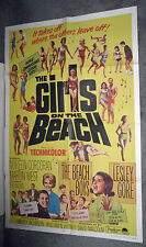 THE GIRLS ON THE BEACH orig 1965 one sheet movie poster BEACH BOYS/LESLEY GORE