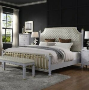 Acme House Marchese California King Bed In  Beige PU & Pearl Gray Finish