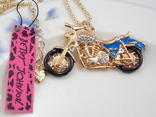Betsey Johnson Cute fashion inlay Crystal motorcycle Pendant Necklace #F267H