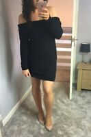 Womens Ladies Black Bardot Chunky Knitted Jumper Dress One Size Fit UK Size 8-12