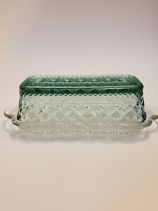 Vintage Anchor Hocking Crystal Clear Wexford Quarter Pound Covered Butter Dish