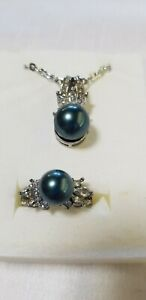 Peacock Shell Pearl Pendant And Ring Size 9