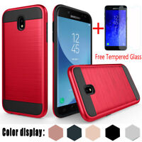 For Samsung Galaxy J7 V 2018/J7 Star/Refine/Crown Armor Slim Case+Tempered Glass