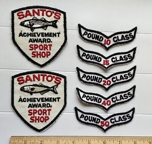 Santo's Sport Shop Fishing Achievement Award Pound Class Tabs Patches Patch Lot
