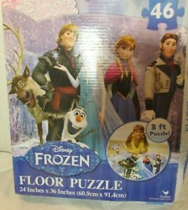 "46  Pc Jigsaw FLOOR PUZZLE  DISNEY FROZEN EX LARGE  24X36"" OLAF ELSA"