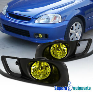 For 1999-2000 Honda Civic Bumper Lamps Fog Lights+Switch