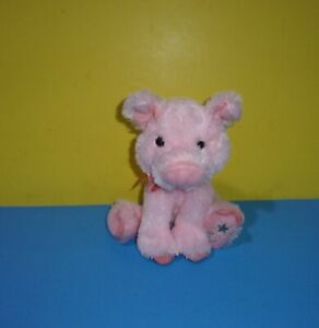 "Russ Pink Pig Shining Stars 8"" Satin Ribbon Stuffed Animal Bean Plush Toy"