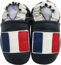 soft sole leather baby shoes French flag dark blue 3-4y