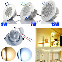 6/12X White 110V 3W/7W/12W Recessed LED Ceiling Downlight Bedroom Spotlight blub