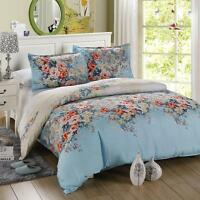 Blue Flower Single Double Queen King Size Bed Set Pillowcase Quilt Duvet Cover