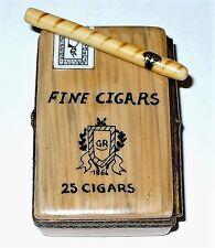 LIMOGES ~ GR ~ CUBAN CIGAR BOX & REMOVABLE CIGAR ~ TOBACCO LEAF ~ PEINT MAIN
