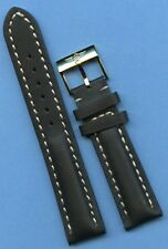 GOLD TONE BREITLING BUCKLE & 18mm GENUINE BLACK LEATHER STRAP BAND VERY PADDED