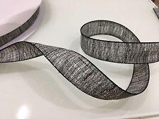 25mm Grey Black Linen Ribbon Per Meter Trim Sewing Embellishment Card Making Bow