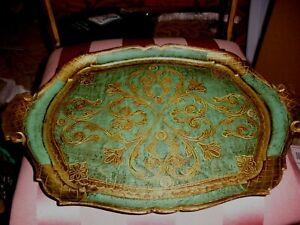Vintage Green & Gold Hard Plastic Italian Tole Florentine Tray