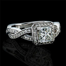 1 Carat D SI Diamond Engagement Ring Princess Cut 14K White Gold