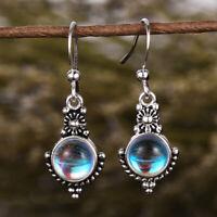 Vintage Long 925 Silver Moonstone Dangle Hook Earrings Wedding Jewelry Gifts