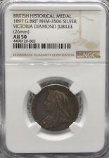 1897 Victoria Diamond Jubilee, Médaille d'argent NGC AU 50 BHM-3506