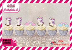 Unicorn 24x Stand-Up Pre-Cut Wafer Paper Cup cake Toppers