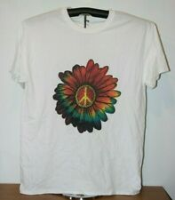 Flower Power Peace Sign T-Shirt  White in Large