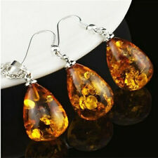 Jewelry Set Charm Water Drop Vintage Amber Statement Women Necklace Earring