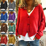 Women Sweater Button Up V-Neck Casual Cardigan Knitted Solid Jumper Coat Jacket