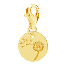 FASHIONS FOREVER® 925 Sterling Silver 24K-Gold Plated Dandelion Charm (options)