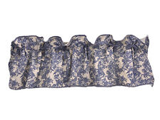 Pair of Waverly Garden Room Curtain Valences Blue Floral 50 x 17 Rod Pocket Bows