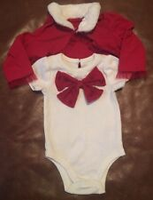 Baby Starters Baby Girls Bow Shrug Bodysuit Set Faux Fur Trim Red/Ivory 6 Months