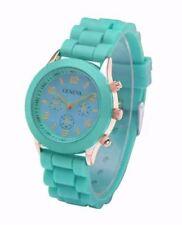 Geneva Mint green Silicone Rubber Strap Watch
