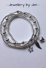 Sterling Silver Stretch Bracelet Stack Angel Wing, Heart & Star Set Of 3 ❤️