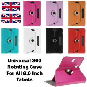 Universal New 360 Rotating Case Cover Leather Stand For All 8.0 Inch Tablets UK