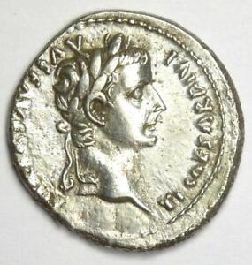 Roman Tiberius AR Denarius Silver Tribute Penny Coin 14-37 AD - Good VF / XF