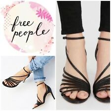 Free People Disco Fever Heels Black Leather Shoes Size 39/9 NWT