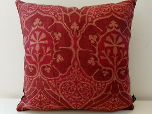 William Morris & Co VOYSEY Red Linen & Cardinal Velvet Cushion Cover Arts