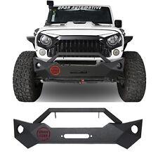 Black Steel FRAGMENTATION Front Bumper w/ Winch Plate for 07-18 Jeep Wrangler JK