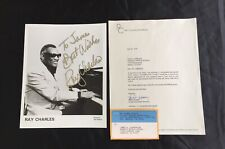 Autographed Signed Ray Charles Photo with Proof Letter Ray Charles Enterprises