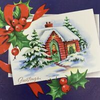 Vintage Mid Century Christmas Greeting Card Red House Snowy Roof Tree Green Door