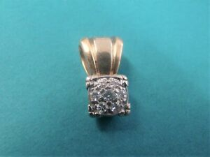 Diamond Cluster Pendant 2 tone Yellow & White Gold 14kt.