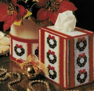 CHEERY SET TISSUE COVER COASTERS CHRISTMAS PLASTIC CANVAS PATTERN INSTRUCTIONS