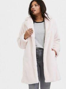 Torrid Womans Plus Size Light Pink Faux Fur Plush Longline Coat Jacket Sz 2X