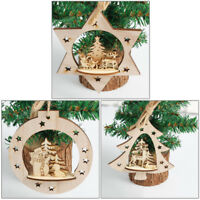 3D christmas decorations pendant wood carved Christmas pend Ek