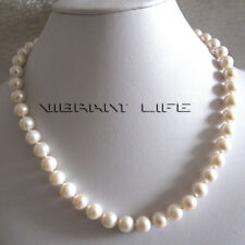 """18"""" 8-9mm White AA+ Freshwater Pearl Necklace L UE"""