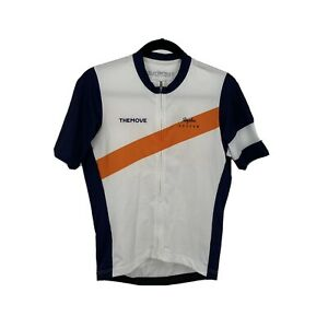 Rapha Cycling Jersey Custom TheMove Navy Blue White Orange Full Zip S/S Mens L