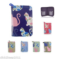 Oilcloth Cute Multi Floral Kitty Cat Short Zip Purse Wallet