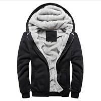 Men's Winter Jacket Fleece Zip Up Hooded Coat Pullover Casual Thick Sweatshirt