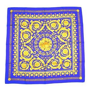 "NWT $395 Versace Barocco Baroque Floral Print 100% Silk Scarf Blue 34"" AUTHENTIC"