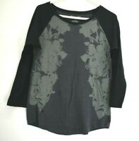 American Eagle Outfitters Women's XL Raglan Light T-Shirt Floral Black Charcoal